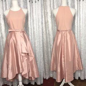 Eliza J Belted High Low Faux Wrap Dress